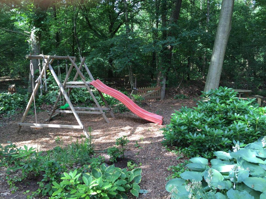 playset in the backyard